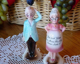 Vintage 60s Man and Pregnant Wife Salt and Pepper Shakers
