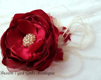 Red Bridal Flower Hair clip, Red and champagne Wedding Hair Accessory, Red and Champagne Fascinator