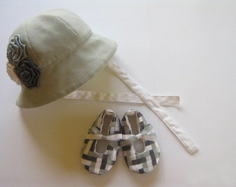 Hat and booties set. Sewing pattern tutorial PDF. Baby Hat Easy Sew