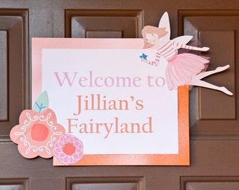 Fairy Birthday Decorations - Birthday Door Sign - Light Pink & Orange