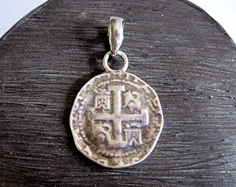 Spanish Coin Pendant in Sterling Silver (P1) (N)