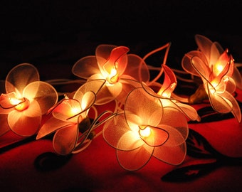 20 fairy lights Bulbs Handmade White flower with Red Pollen string lights for Patio,Wedding,Party and Decoration