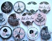 15 Ooh La La Paris Chic Party Picks - Cupcake Toppers - Toothpicks - Food Picks -  FP430