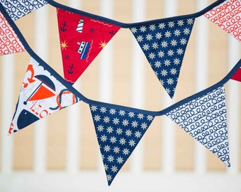 Nautical, By the Sea - Fabric Flag Bunting
