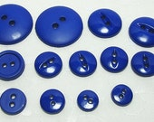 "Supplies 13 Buttons Blue Big and Bright 3/8"" to 1-3/8"" (Qty. 13)"