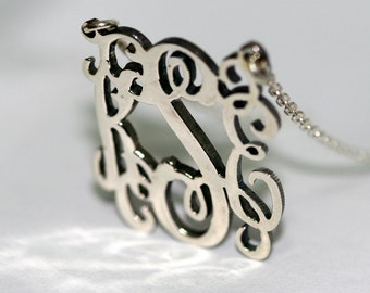 1 inch Monogram Necklace Personalized Monogram Necklace in Sterling Silver with  box