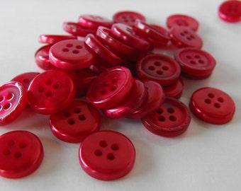 "25 Red Metallic Medium Round Buttons Size 9/16""."