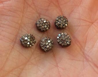 Pave Diamond Round Charms-6mm