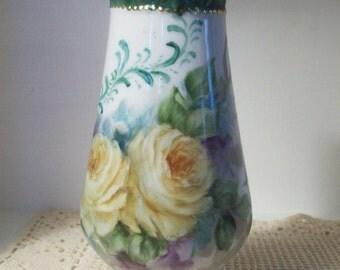 hand painted yellow roses vase shabby chic decor