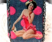 SALE Altered Altoid Tin Box, Vintage image, Pin Up Girl,  Pink Polk a Dots
