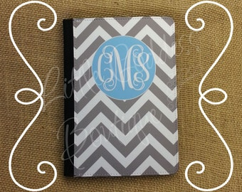 "Kindle Fire or Kindle Fire HD 7"" 2012 model Faux Leather case cover Personalized Custom Chevron Gray Light Blue Monogram"