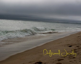 Stormy Seas 5x7 Ivory Matted Print, Landscapes, Natural Beach Scene, Nautical Photography Cape Cod