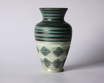 Vintage West German Green Vase with Motif - Dümler&Breiden (Hohr)
