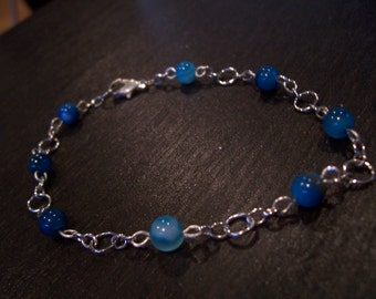 Blue Agate Beaded Bracelet