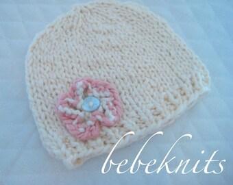 Hand Knit Organic Cotton Newborn Baby Girl Hat