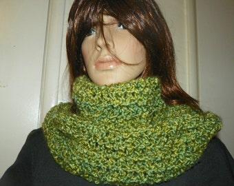 Infinity Scarf Stunning Pesto Green Cowl Neck Warmer Hand Crochet