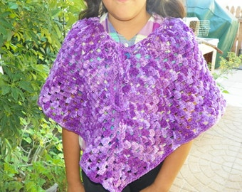 Girls Poncho Purple Tones  Girls Size  4-12 Years 60's Style Hand Crochet
