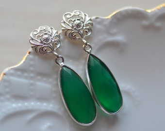 Earrings Green Onyx Vibrant Baroque Inspired  Weddings Brides Bridesmaids Prom New Years EveBlack Tie Maid of Honor