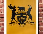 Crest Print Black on Mustard