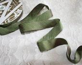 Midori Evergreen Dupioni Silk Ribbon Trim - by the yard - 3/4 inch width Midori - Bridal Millinery Home Decor - Forest Green - Ribbon Flower