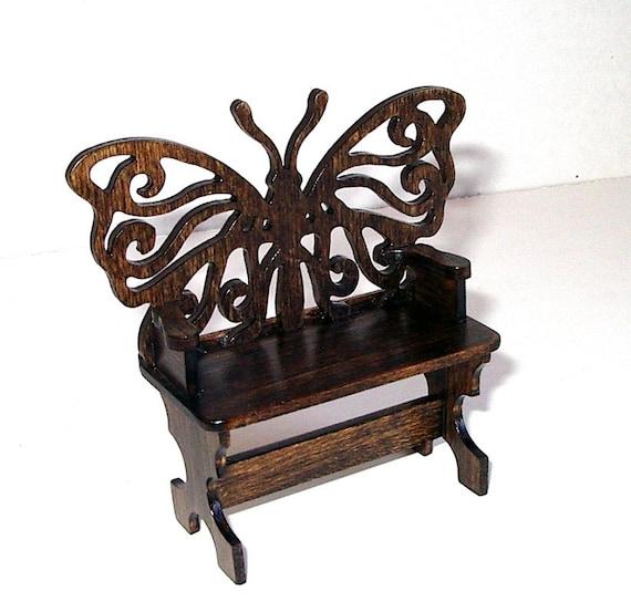 Butterfly Garden Bench Dollhouse Miniature 1 12 Scale Hand