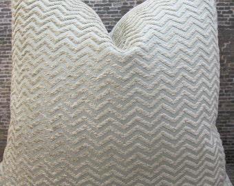 Designer Pillow Cover  Lumbar, 16 x 16, 18 x 18, 20 x 20, 22 x 22. 24 x 24, 26 x 26 - Riley Chevron Chenille Light Blue & Tan
