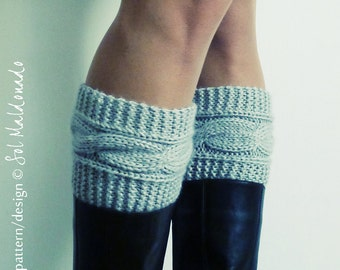 Boot socks pattern Boho Knits - Boot Cuffs, leg warmers PDF Knitting Pattern - cable fall knits accessories - Instant DOWNLOAD