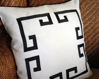 "20"" Greek Key Aegean Fretwork White Linen and Black- Pillow Cover"