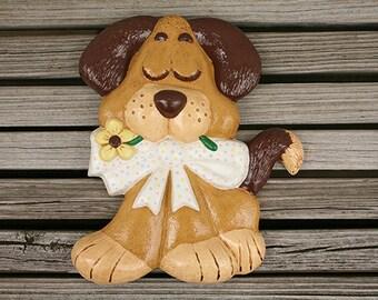 Vintage Ceramic Dog Wall Hanging, Baby Shower Gift, Baby's Room, Nursery Decor, Child's Room, Vintage Childrens, Baby Room, Kids Room