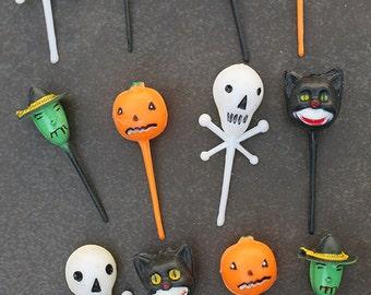 12 Vintage Halloween Cupcake Toppers - Cake Toppers - skull skeleton witch pumpkin black cat