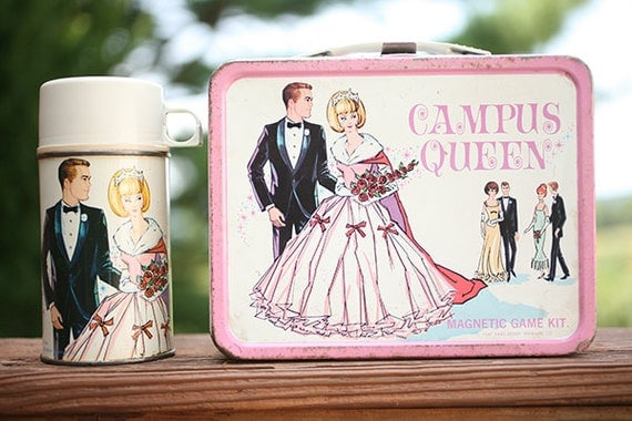 Vintage Campus Queen Barbie Thermos and Lunch Box Set - Vintage Barbie Prom Queen