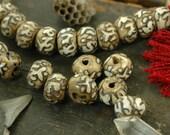 Loose Beads: Hand-Carved Nepali Shell Beads 11x16mm /Buddhist Mantra Om Mani Padme Om / 4 Beads / Boho Yoga Fashion, Jewelry Making Supplies