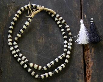 Yipes, Stripes African Batik Bone Beads / Black & White Kenyan Bicone Beads 7x25mm / Tribal Beads, Boho Festival Fashion