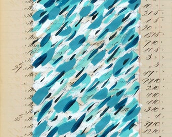 Page 7: original abstract painting daily series on antique ledger book page 1800s grey beige tan blue white turquoise.