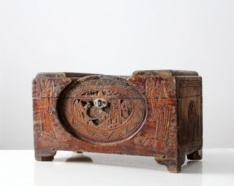 antique Asian jewelry box, carved teak small chest