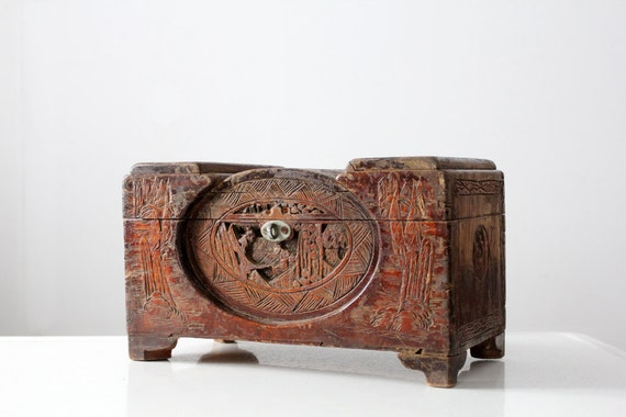 Antique Asian Jewelry Box Carved Teak Small Chest