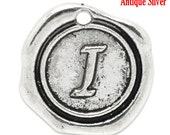 "1pc Initial ""I"" Antique Silver Charm. Personalized Small Pendant. Metal letter. 18mm Round Disc. Necklace Bracelet Component."