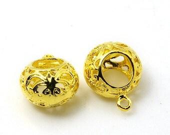 2 pcs Golden Spherical Round Pendant. Gold Plated Filigree Hollow Pendants. Nickel Free Brass - 14mm