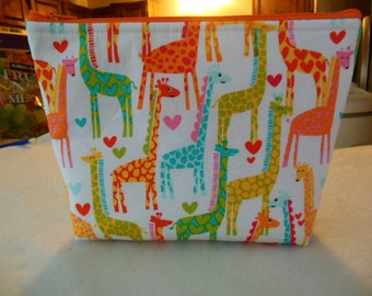 Giraffes cosmetic/accessory bag