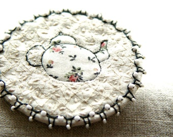 White Teapot Fiber Art Brooch