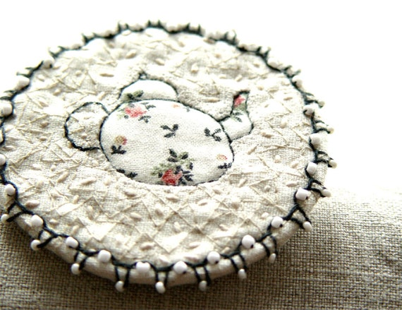 White Teapot Fiber Art Brooch