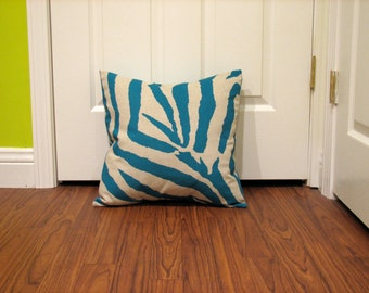 Teal and Natual Zebra Print Pillow Cover 18 inch