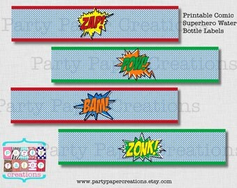 INSTANT DOWNLOAD Comic Superhero Birthday Printable Water Bottle Label Wrapper - Comic Birthday - Party Printables