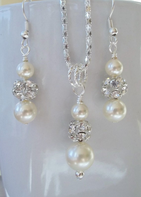 Ivory Bridesmaid Jewelry Set Cream Pearl Necklace Amp Earrings