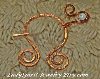 Copperwork Celtic Penannular Shawl or Tartan PIn with Natural White Howlite Accent