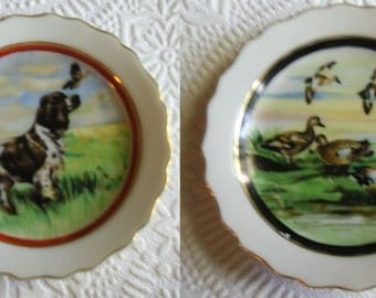Vintage Pin Trays - Two Porcelain Coasters, Dog Pin Tray, Geese Pin Tray, Hunting Scenes, Made in Japan