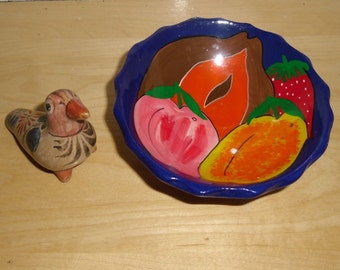 Vintage Mexican Pottery - Bird and Small Clay Footed Fruit Bowl - Mexican Clay