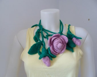 Felted Crochet Rose Lariat Necklace or Scarf in Pink