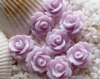 Resin Rose Flower Cabochon 10mm - 50 pcs -Light  Lavender