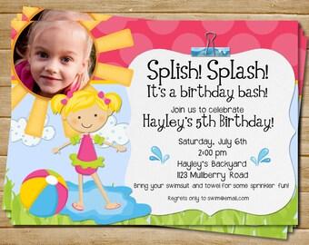 Digital File Printable Pool Party Invitation Pool Party Invite Pool Party Birthday Invite Brown or Blonde hair